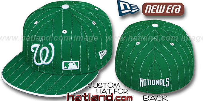 Nationals 'FABULOUS' Kelly-White Fitted Hat by New Era : pictured without stickers that these products are shipped with