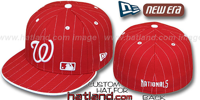 Nationals 'FABULOUS' Red-White Fitted Hat by New Era : pictured without stickers that these products are shipped with
