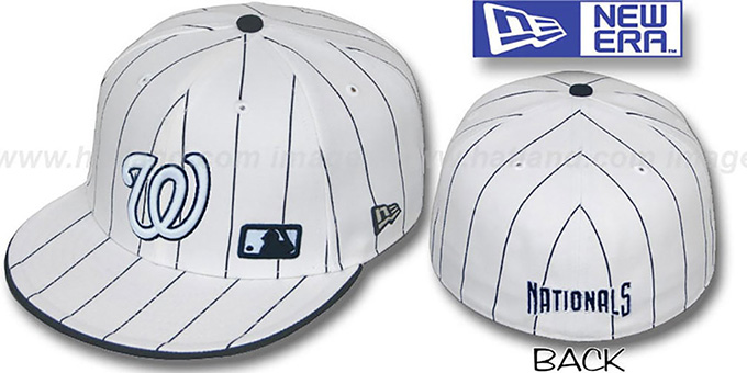 Nationals 'FABULOUS' White-Navy Fitted Hat by New Era : pictured without stickers that these products are shipped with