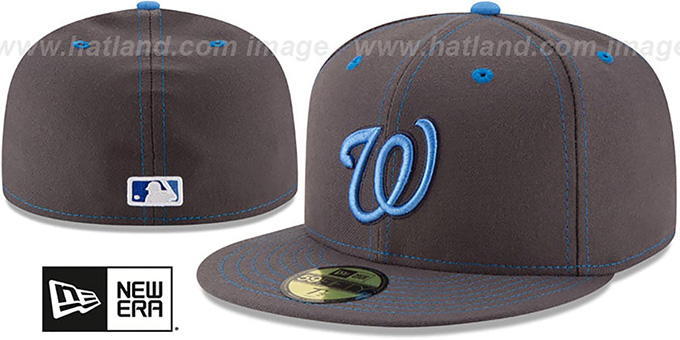Nationals 'FATHERS DAY' Fitted Hat by New Era : pictured without stickers that these products are shipped with