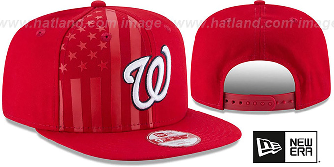 Nationals 'FLAG-FRONT SNAPBACK' Red Hat by New Era : pictured without stickers that these products are shipped with