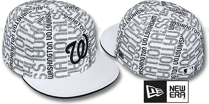 Nationals 'GOOD TIMES ALL-OVER' White-Black Fitted Hat by New Era : pictured without stickers that these products are shipped with