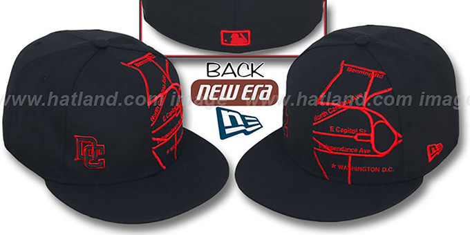 Nationals 'GPS' Black-Red Fitted Hat by New Era : pictured without stickers that these products are shipped with