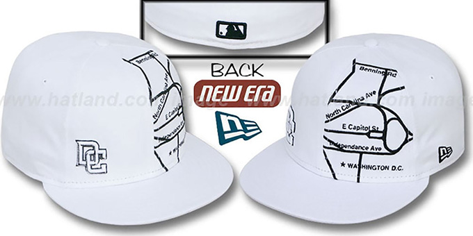 Nationals 'GPS' White-Black Fitted Hat by New Era : pictured without stickers that these products are shipped with