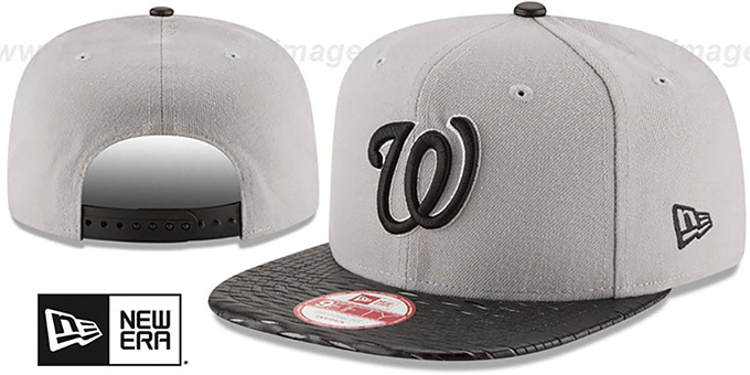 Nationals 'LEATHER-RIP SNAPBACK' Grey-Black Hat by New Era : pictured without stickers that these products are shipped with