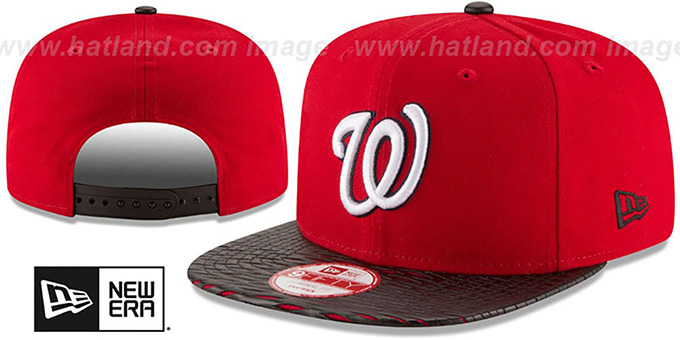 Nationals 'LEATHER-RIP SNAPBACK' Red-Black Hat by New Era : pictured without stickers that these products are shipped with