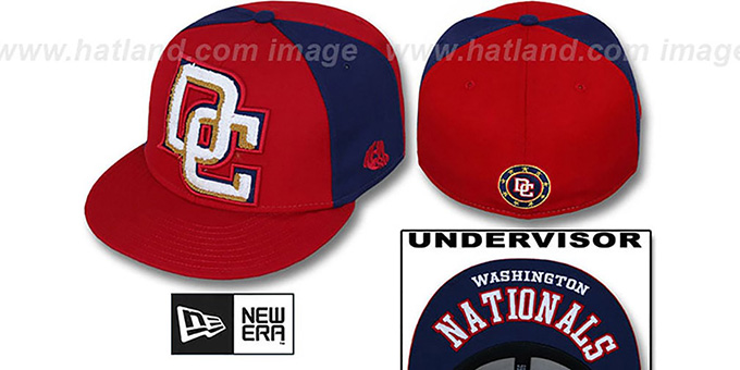 Nationals 'LETTERMAN' Red-Navy Fitted Hat by New Era : pictured without stickers that these products are shipped with