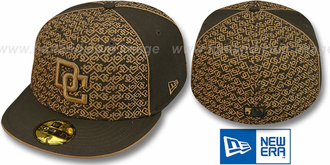 Nationals 'LOS-LOGOS' Brown-Wheat Fitted Hat by New Era : pictured without stickers that these products are shipped with