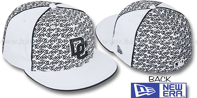 Nationals 'LOS-LOGOS' White-Black Fitted Hat by New Era : pictured without stickers that these products are shipped with
