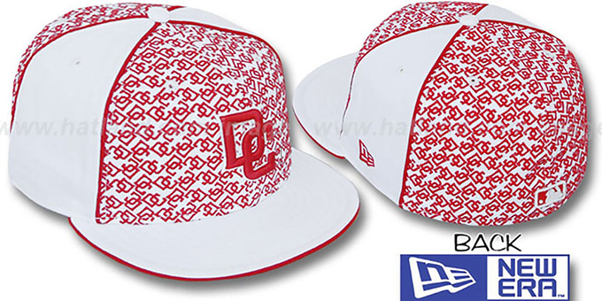 Nationals 'LOS-LOGOS' White-Red Fitted Hat by New Era : pictured without stickers that these products are shipped with