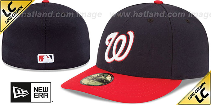 Nationals 'LOW-CROWN' ALTERNATE Fitted Hat by New Era : pictured without stickers that these products are shipped with