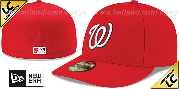 Nationals 'LOW-CROWN' GAME Fitted Hat by New Era : pictured without stickers that these products are shipped with