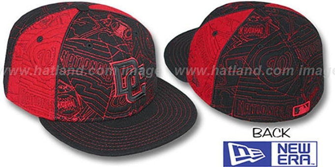 Nationals 'MELTON PUFFY PINWHEEL' Black-Red Fitted Hat by New Era : pictured without stickers that these products are shipped with