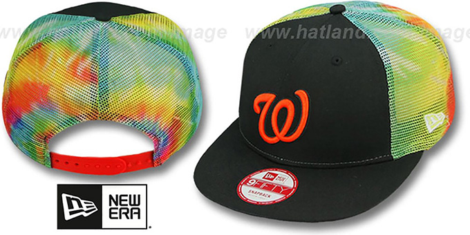 Nationals 'MESH TYE-DYE SNAPBACK' Hat by New Era : pictured without stickers that these products are shipped with