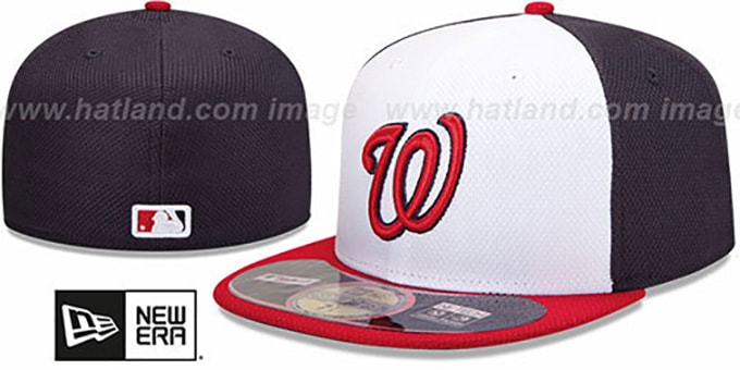 Nationals 'MLB DIAMOND ERA' 59FIFTY White-Navy-Red BP Hat by New Era : pictured without stickers that these products are shipped with