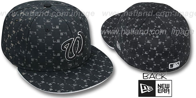 Nationals 'MLB FLOCKING' Black Fitted Hat by New Era : pictured without stickers that these products are shipped with
