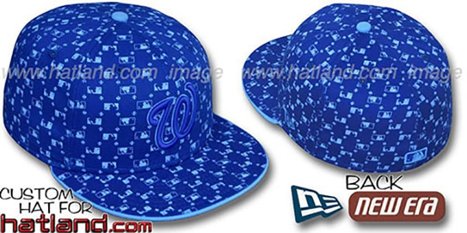 Nationals 'MLB FLOCKING' Royal Fitted Hat by New Era : pictured without stickers that these products are shipped with