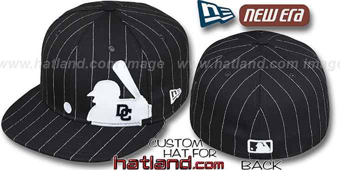 Nationals 'MLB SILHOUETTE PINSTRIPE' Black-White Fitted Hat by New Era : pictured without stickers that these products are shipped with