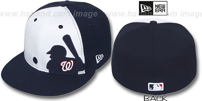 Nationals  MLB SILHOUETTE  White-Navy Fitted Hat by New Era 26174540891