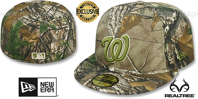 Nationals 'MLB TEAM-BASIC' Realtree Camo Fitted Hat by New Era : pictured without stickers that these products are shipped with