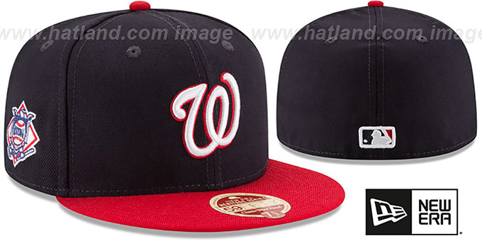 Nationals 'MLB WOOL-STANDARD' Navy-Red Fitted Hat by New Era : pictured without stickers that these products are shipped with