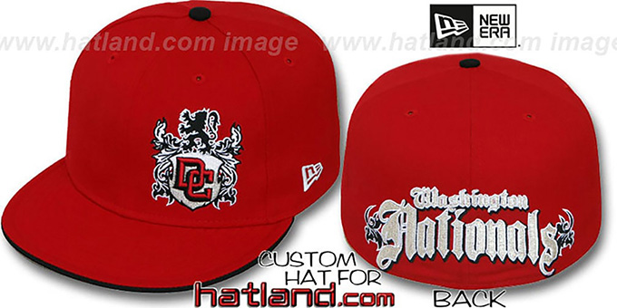 Nationals 'OLD ENGLISH SOUTHPAW' Red-Black Fitted Hat by New Era : pictured without stickers that these products are shipped with