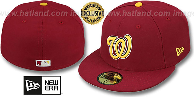 Nationals 'OPPOSITE-TEAM' Burgundy Fitted Hat by New Era : pictured without stickers that these products are shipped with