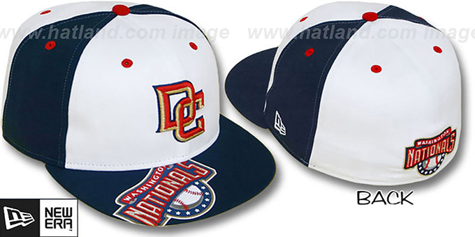 Nationals 'ORLANTIC' White-Navy Fitted Hat by New Era : pictured without stickers that these products are shipped with
