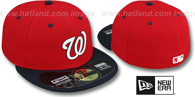 Nationals 'PERFORMANCE' ALTERNATE-2 Hat by New Era : pictured without stickers that these products are shipped with