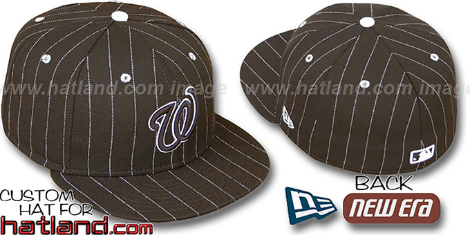 Nationals 'PINSTRIPE' Brown-White Fitted Hat by New Era : pictured without stickers that these products are shipped with