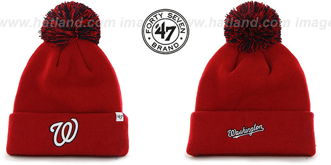 Nationals 'POMPOM CUFF' Red Knit Beanie Hat by Twins 47 Brand : pictured without stickers that these products are shipped with