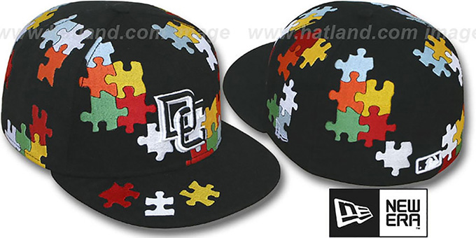Nationals 'PUZZLE' Black Fitted Hat by New Era : pictured without stickers that these products are shipped with