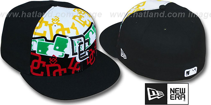 Nationals 'RASTA LAYERED' Black Fitted Hat by New Era : pictured without stickers that these products are shipped with