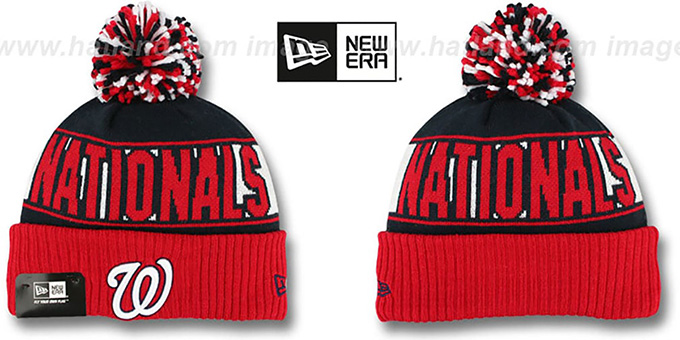 Nationals 'REP-UR-TEAM' Knit Beanie Hat by New Era : pictured without stickers that these products are shipped with