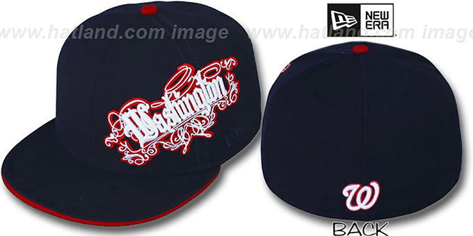 Nationals 'ROYALE OLD ENGLISH' Navy Fitted Hat by New Era