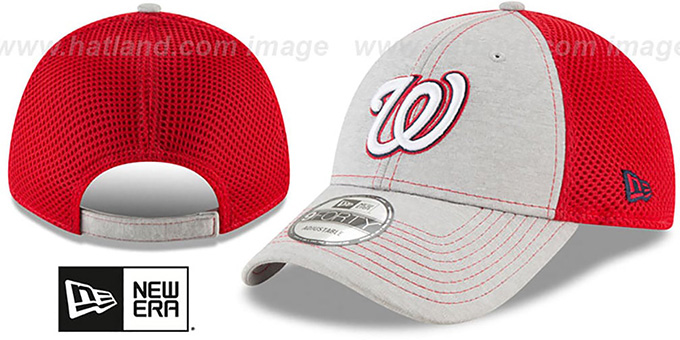 Nationals 'SHADOW TURN STRAPBACK' Grey-Red Hat by New Era : pictured without stickers that these products are shipped with