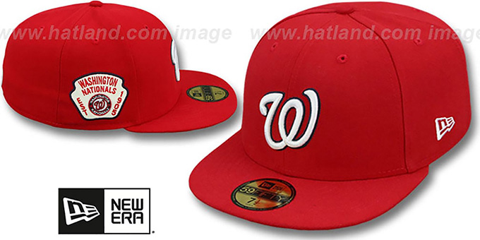 Nationals  SIDE TEAM-PATCH  Red Fitted Hat by New Era 4c23ea54f061