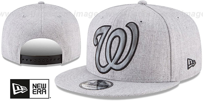 new product 5b2c4 14f6c Nationals  SILKED-XL SNAPBACK  Heather Light Grey Hat by New Era