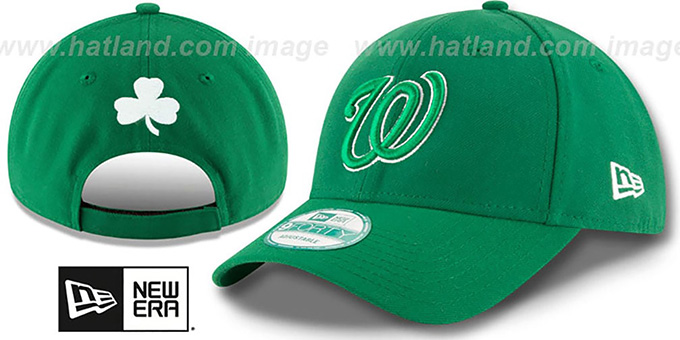 Nationals 'ST PATRICKS DAY' Green Strapback Hat by New Era : pictured without stickers that these products are shipped with