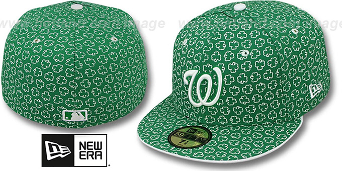 Nationals 'ST PATS FLOCKING' Kelly Fitted Hat by New Era : pictured without stickers that these products are shipped with
