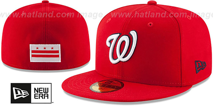 Nationals 'STATE STARE' Red Fitted Hat by New Era : pictured without stickers that these products are shipped with