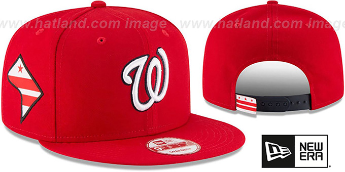 Nationals 'STATE STARE SNAPBACK' Red Hat by New Era : pictured without stickers that these products are shipped with