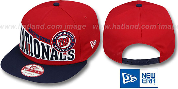 Nationals 'STOKED SNAPBACK' Red-Navy Hat by New Era : pictured without stickers that these products are shipped with