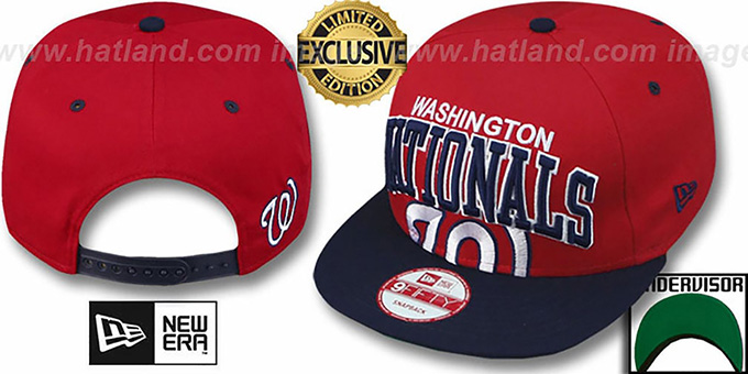 Nationals 'SUPER-LOGO ARCH SNAPBACK' Red-Navy Hat by New Era : pictured without stickers that these products are shipped with