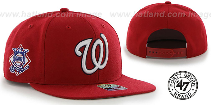 Nationals 'SURE-SHOT SNAPBACK' Red Hat by Twins 47 Brand : pictured without stickers that these products are shipped with