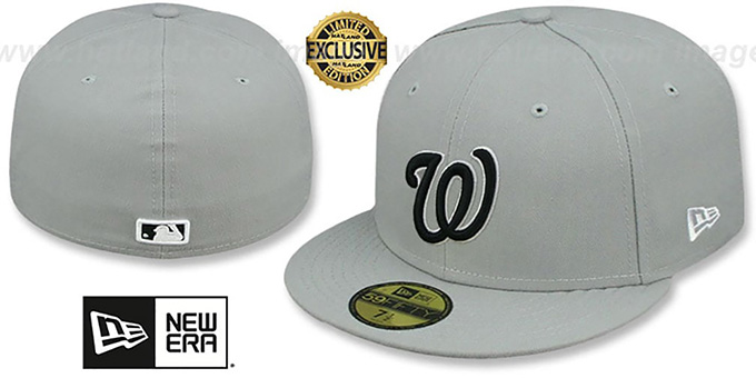 Nationals 'TEAM-BASIC' Grey-Black-White Fitted Hat by New Era : pictured without stickers that these products are shipped with