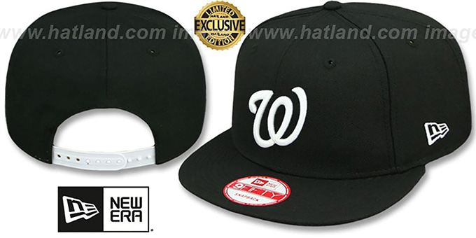 Nationals 'TEAM-BASIC SNAPBACK' Black-White Hat by New Era : pictured without stickers that these products are shipped with