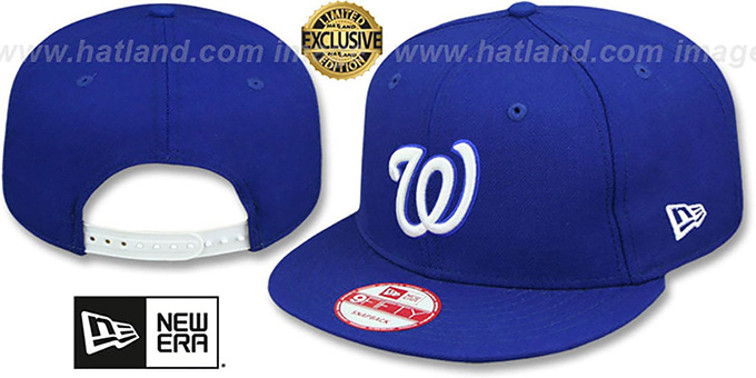 Nationals 'TEAM-BASIC SNAPBACK' Royal-White Hat by New Era : pictured without stickers that these products are shipped with