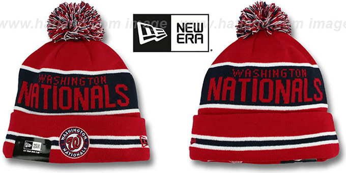 Nationals 'THE-COACH' Red Knit Beanie Hat by New Era : pictured without stickers that these products are shipped with