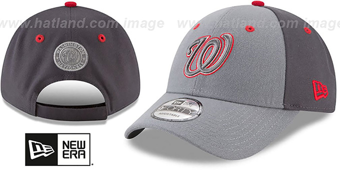Nationals 'THE-LEAGUE GREY-POP STRAPBACK' Hat by New Era : pictured without stickers that these products are shipped with